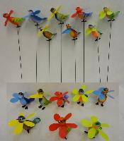 Yard Stake [Colorful Birds with Pinwheels]